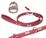 Wag n Walk Diamante Lead Pink Suede 1/2